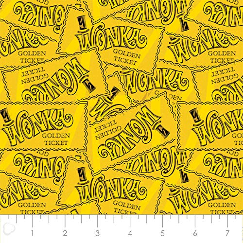 Willy Wonka Golden Ticket Toss in Yellow 100% Premium Quality Cotton Fabric by The Yard