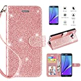 Galaxy Note 5 Case with [HD Screen Protector],Casekey [Kickstand] [Card Slots] [Wrist Strap] 2 in 1 Glitter Magnetic Flip PU Leather Wallet Cover Compatible Galaxy Note 5, Rosegold