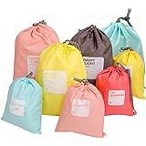 CHRISLZ 8 piezas Nylon lazo bolsa ropa impermeable bolso viaje bolsa sucia cable bolsa zapatos bolsa