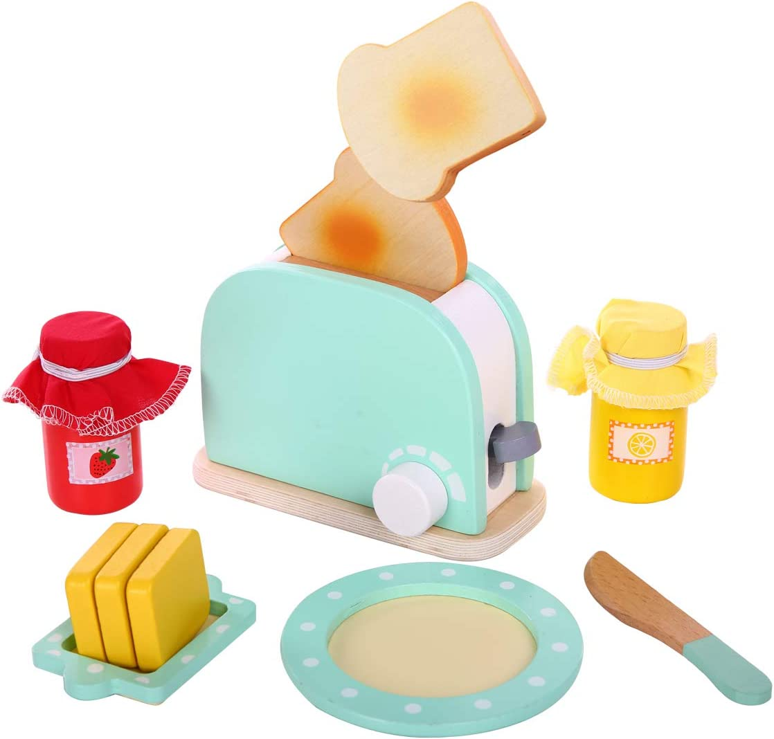 Spiekind Pop Up Play Toaster Wooden Kitchen Set for Girls - Kids Baking Set Bread, Knife, Sliceable Butter and Sauce, Pretend Play Toys for Toddler