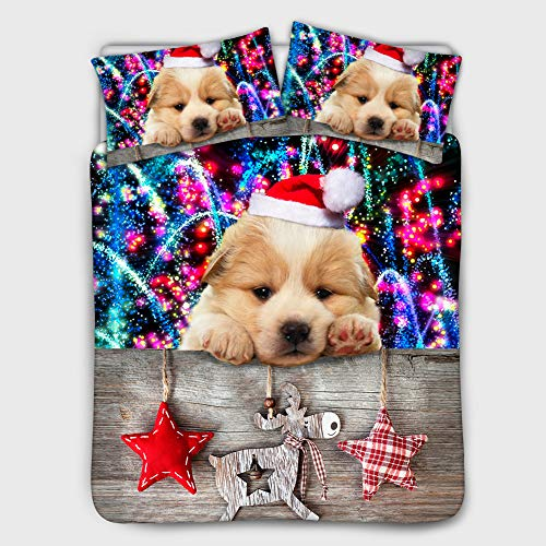 Bigcardesigns Christmas Decor Bedding Sheets Comforter Sets with 2 Standard Pillowcase Lovely Dog Puppy Pattern Duvet Cover Ultra Soft Stain Resistant 3 Piece Set Beige Lining Twin Size 68x88inches