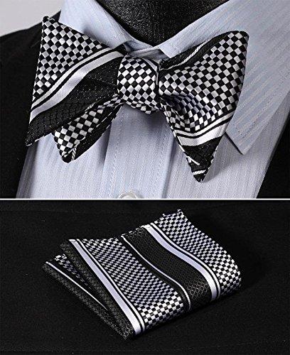 Mondaily DL414L Black White Check Stripe Bowtie Silk Men Self Bow Tie handkerchief set #PPTE4817 (Plus Size Squirrel Costume)