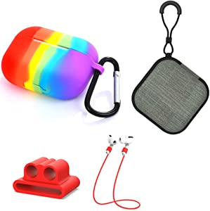 Rainbow Airpods Pro Case Set, Uactor 5 in 1 Protective Silicone Cover and Skin for Apple Airpods Pro Charging Case with Strap/Watch Band Holder/Keychain/Case/Carrying Box (Rainbow - AirPods Pro)