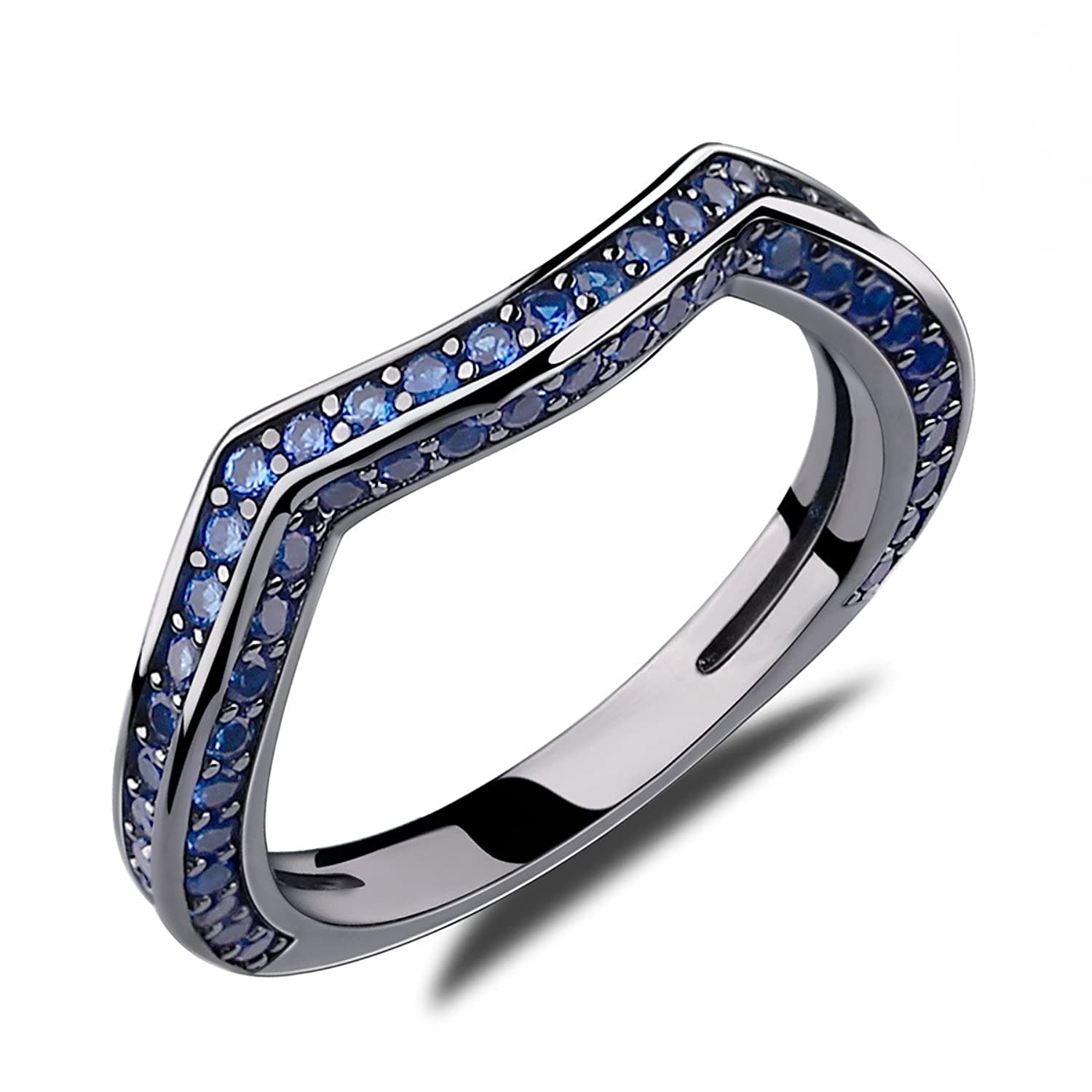 caperci created blue sapphire wedding ring for women