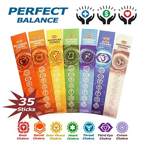 Incense 7 Chakras Incense Natural Meditation Premium Incense Sticks from Root to Crown 35 Sticks Set Gift Pack - Perfect Balance Seven Chakras Incense for Healing, Yoga, Meditation, Aromatherapy