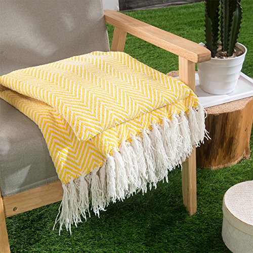 HollyHOME Oversized Herringbone Throw Blanket 50x60 Inches Marigold Warm Soft Microfiber All Season Blanket with Tassels, Lemon Yellow (Pillows Oversized Throw Sofa)