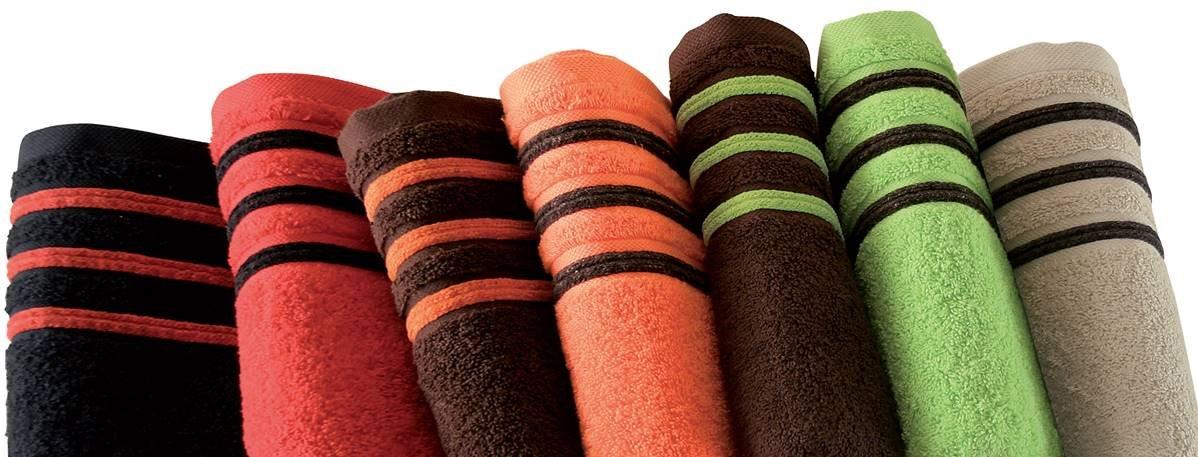 Drap De Bain 100x150 cm 100/% Coton 550 grS//m2 Orange Avec Liserets Chocolat