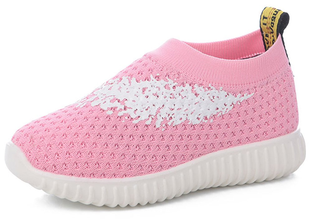 InStar Girls' Sweet Mesh Round Toe Low Top Breathable Slip-ONS Loafers Shoes Pink 5.5 M US Big Kid