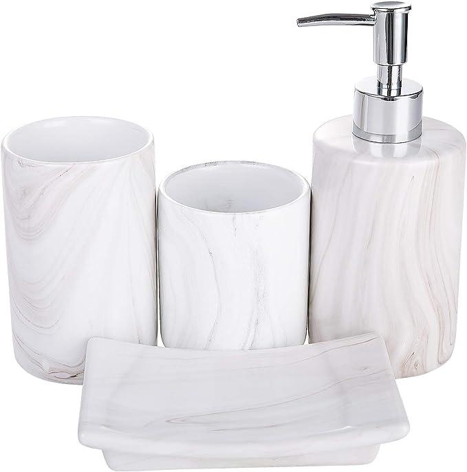Coosa Ceramics Bathroom Accessories Set 4 Piece Bath Ensemble Bath Set Collection Marble Pattern Soap Dispenser Pump Toothbrush Holder Tumbler Soap Dish Amazon Co Uk Kitchen Home