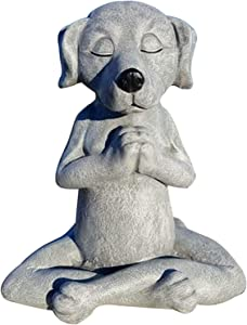 Meditating Dog Statue,Dog Buddha, Statue Decor, Ornament for Garden Home in Natural Stone,Yoga Zen Decor