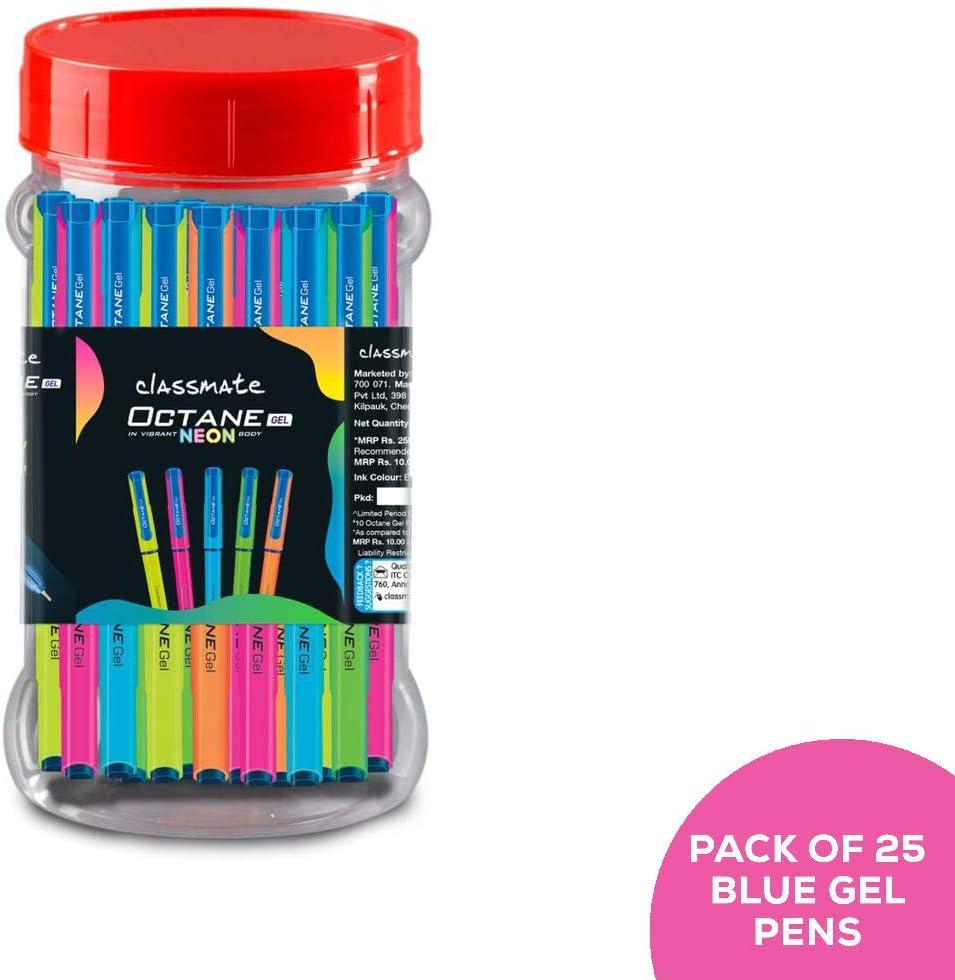Classmate Octane - Bolígrafo de gel (serie Neon (azul) - Paquete de 25 + 10 recambios de gel gratis: Amazon.es: Oficina y papelería