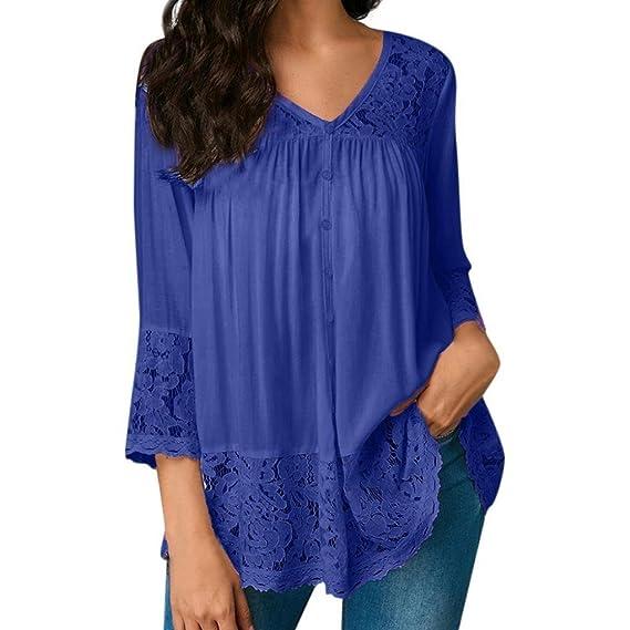 Ropa by BaZhaHei, Camisetas Las Mujeres Sueltan Las Camisetas con Cuello en V de Tres