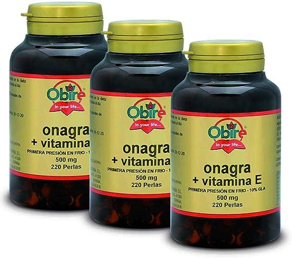 Obire Aceite de Onagra 500 mg con 10% en GLA (Ácido Gamma-linolénico) + 3,35 mg de Vitamina E - 220 perlas, 2 Unidades: Amazon.es: Salud y cuidado personal