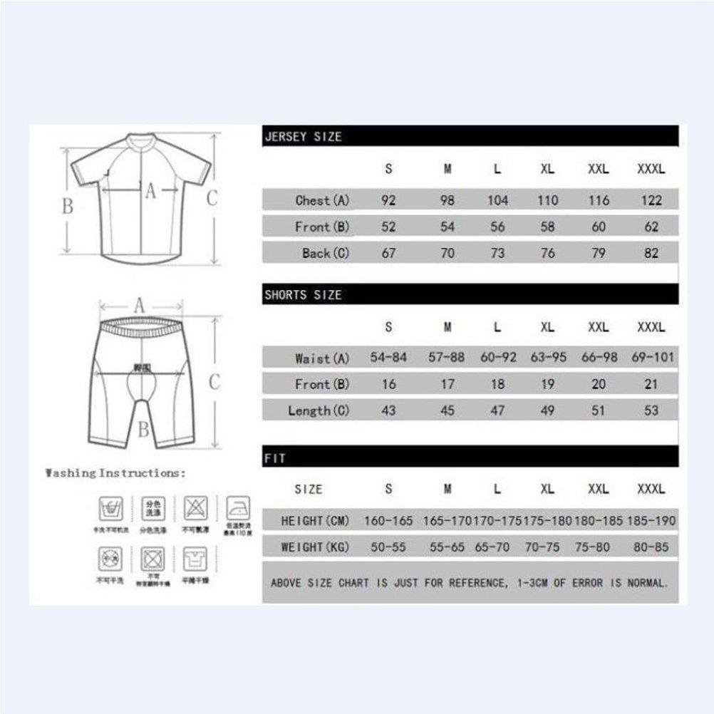 QXF Trägerhose Herren Radtrikots - Breathable Short Sleeve Bike Uniform mit 3D Gel Pad Bib Shorts für Pro Fahrradbekleidung