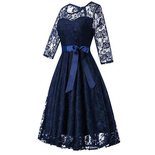 c9e6e3f968 POLP Vestidos Largo Mujer ◉ω◉ Vestido Mujer Fiesta Verano Casual Vendaje en  Cintura Alta