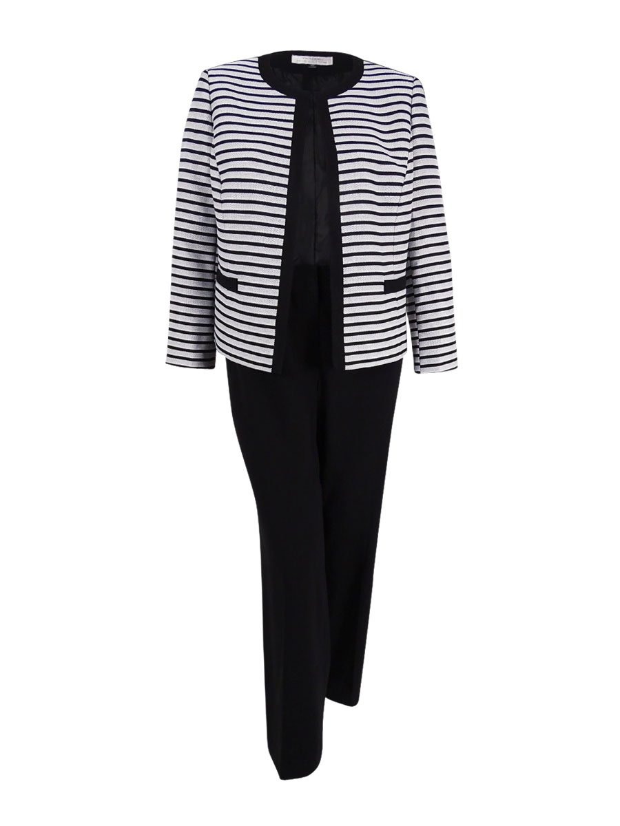 Tahari Women's Petite Striped Framed Jacket Pantsuit (16P, White/Black)