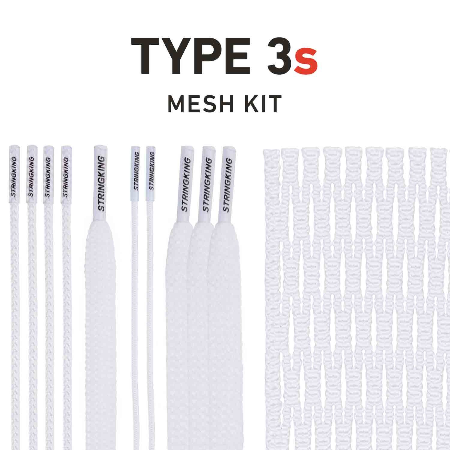 String King Type 3s Semi-Soft Lacrosse Mesh Handy Kit with Mesh & Strings (White)