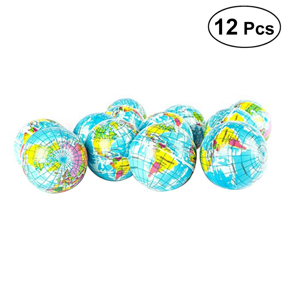 TOYMYTOY 12 Unids 6.3 CM Pelota de Juguete Globe Globe World Map Bola de Esponja Bola de Rebote Suave para Bebés y Niños