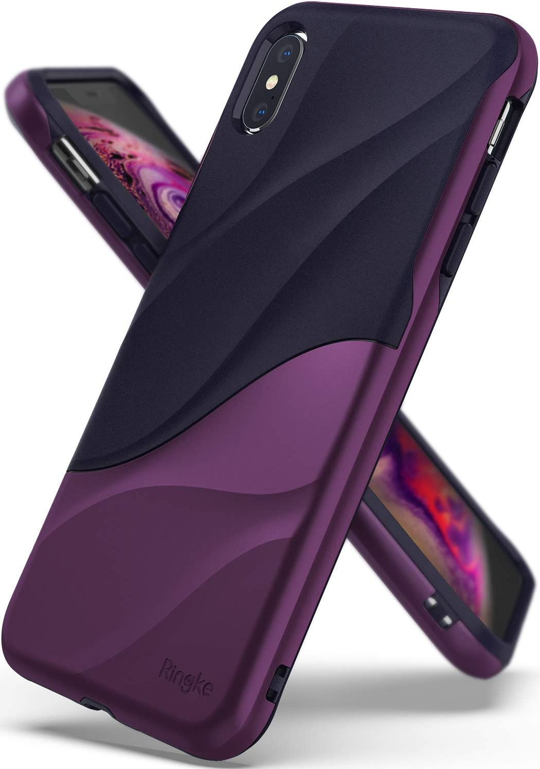 Ringke Wave Compatible with iPhone Xs Max Case, Dual Layer Heavy Duty 3D Textured Cover - Metallic Purple