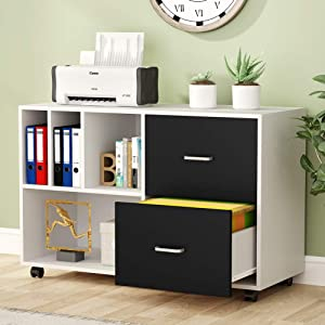 Tribesigns 2-Drawer Lateral File Cabinets Legal Size, Large Vintage Mobile Filing Cabinet Printer Stand with Wheels and Open Storage Shelves for Study, Home Office(White)