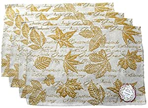 Autumn Harvest Woven Place Mats - Pumpkins, Leaves, Owls - Set of 4 (Golden Leaves with Text)
