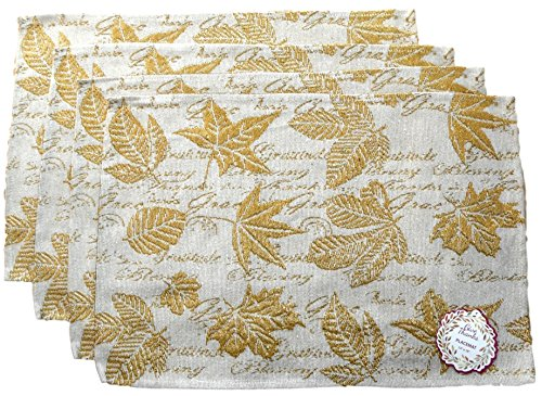 Mabelle Autumn Harvest Woven Place Mats - Pumpkins, Leaves, Owls - Set of 4 (Golden Leaves with Text) from Mabelle