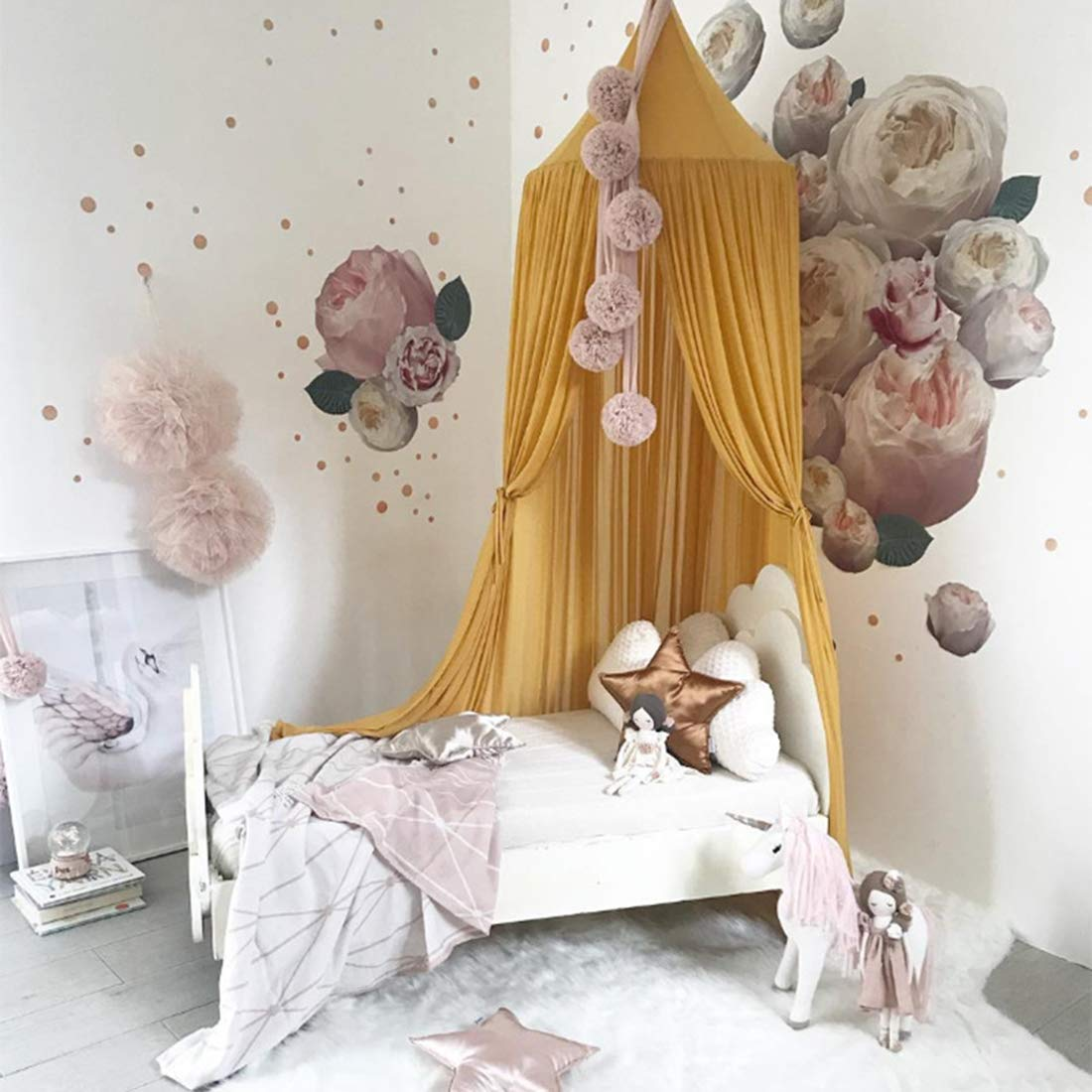 Gelb K9CK Betthimmel Baby Baldachin Betthimmel Kinder Babys Bett aus Chiffon Insektennetz Deko Moskitonetz f/ür Kinderbett