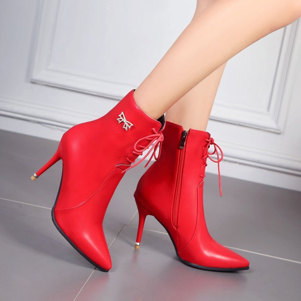 Aisun Damen Sexy Spitz Zehen Schnürsenkel Reißverschluss Stiletto Strass Schleife Stiefel Rot 45 EU qtTqke