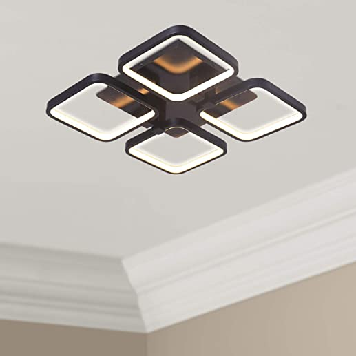 Leniure Black Square LED Light Ceiling Lamp Contemporary Chandelier Lighting Fixture 18″ Wide 18″ Deep 4″ High