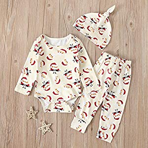 jieGorge Boys Outfits&Set, Newborn Infant Baby Boys Girls Christmas Santa Cartoon Romper+Pants+Hat Outfits, Clothes for…