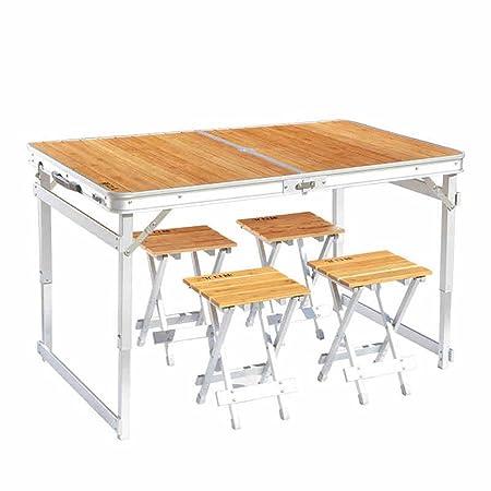 HNHX Mesa Plegable Mesa y sillas Plegables de bambú Mesa Plegable ...