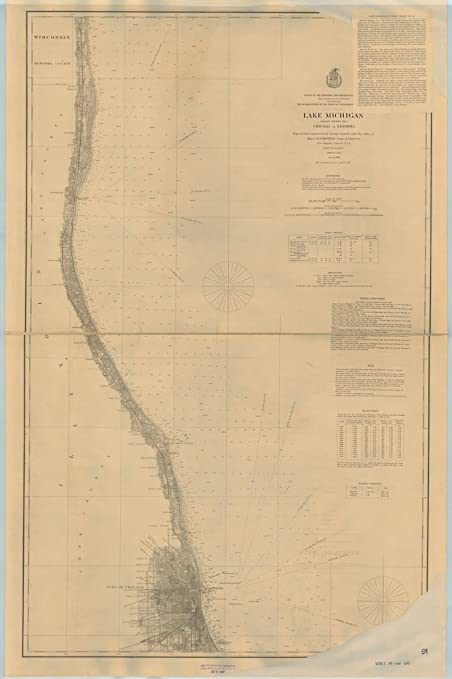 Us 12 Michigan Map.Amazon Com Vintography 8 X 12 Inch 1899 Us Old Nautical Map Drawing