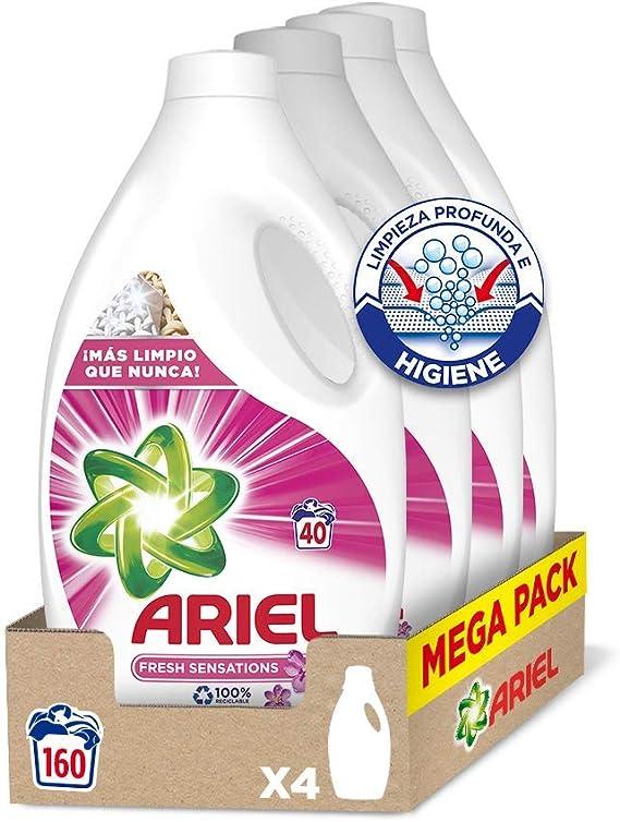 Ariel Detergente Lavadora Líquido, 160 Lavados (4 x 40), Fragancia Sensaciones