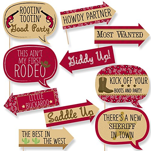 Funny Little Cowboy - Western Baby Shower or Birthday Party Photo Booth Props Kit - 10 Piece -