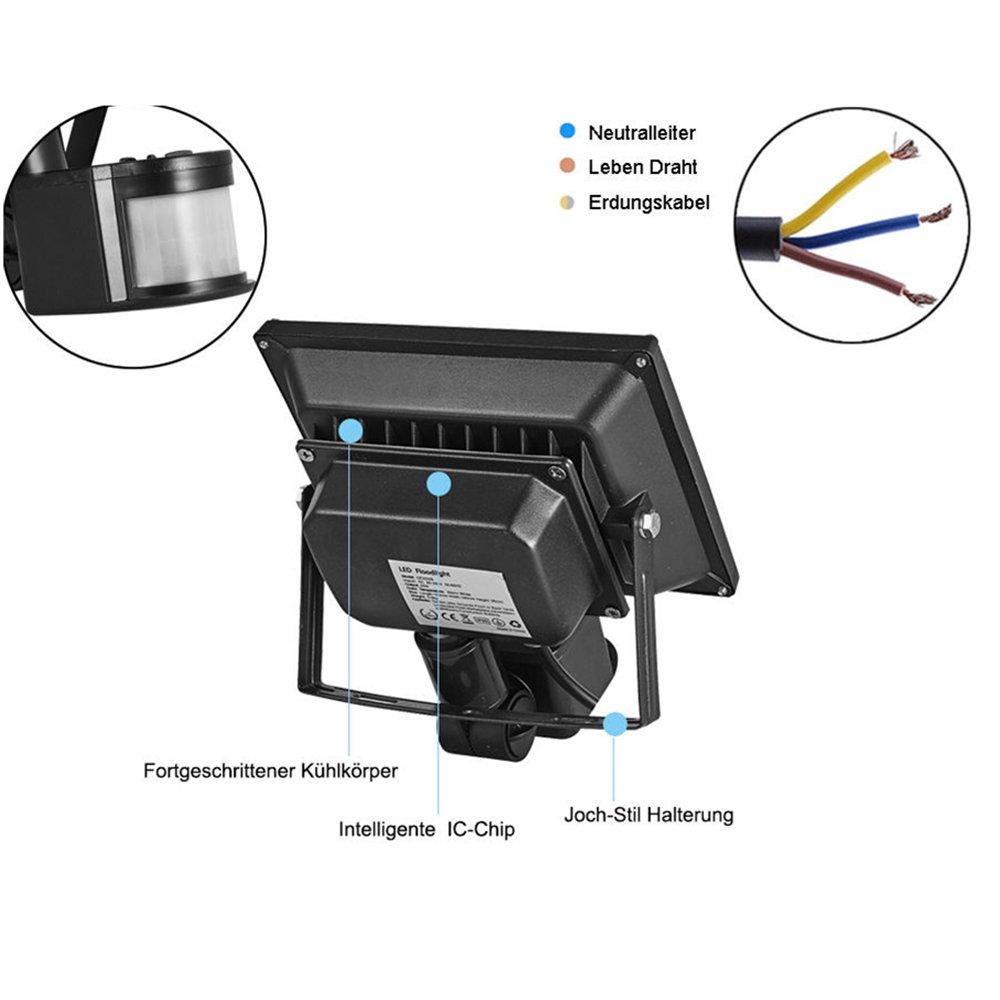 TEquem LED 20W Fluter mit Bewegungsmelder 900lm Strahler Warmweiß ...