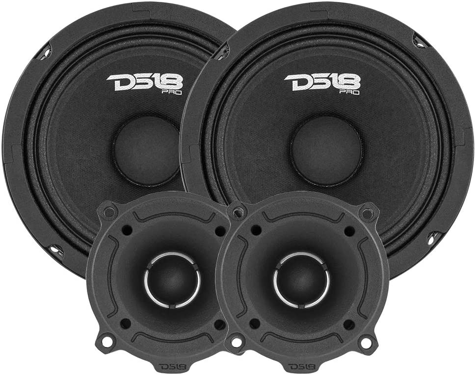 "DS18 PRO-GM6.4PK Mid and High Complete Package - Includes 2X Midrange Loudspeaker 6"" and 2X Aluminum Super Bullet Tweeter 1"" Built in Crossover - Door Speakers for Car or Truck Stereo Sound System"