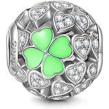 NINAQUEEN Abalorios Charms para Mujer Lucky Clover Plata de ley 925, 5A Circonita, Envases de Regalo, Cada Momento Especial