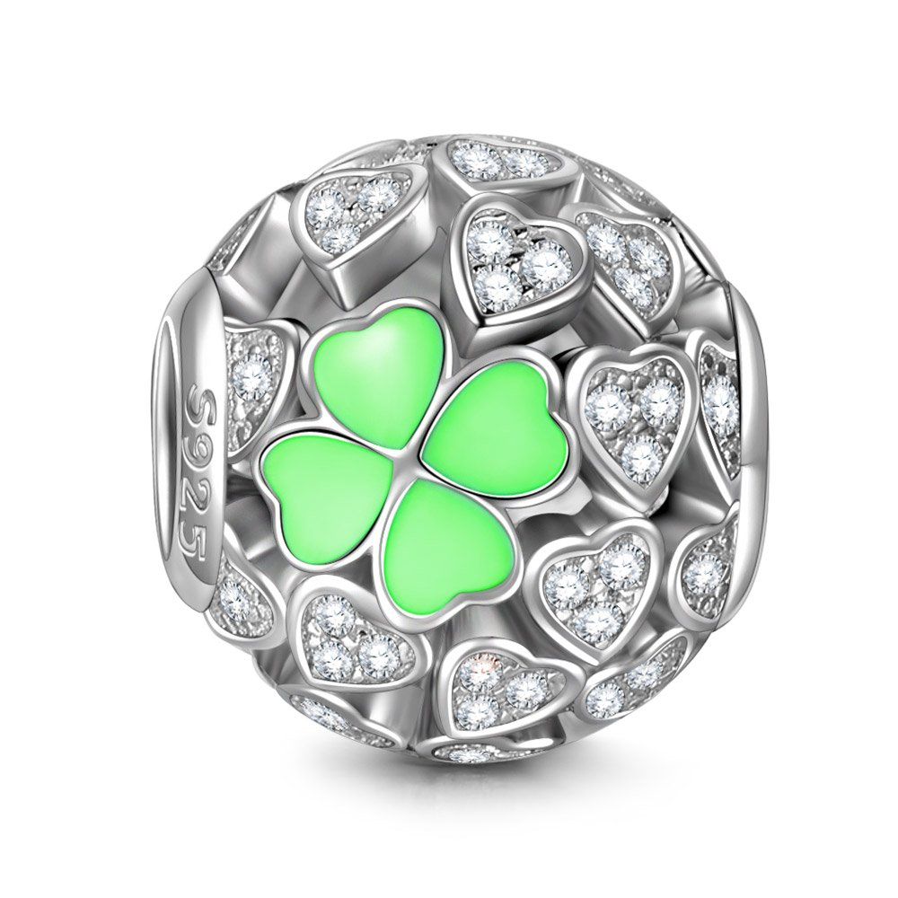 NINAQUEEN Lucky Clover Silver Heart Mint Clovers Openwork Bead Charms for Pandöra Bracelets Necklace Jewelry Making Birthday Anniversary Women Gifts for Her Wife Girlfriend Daughter Teen Girls Kids by NINAQUEEN (Image #1)