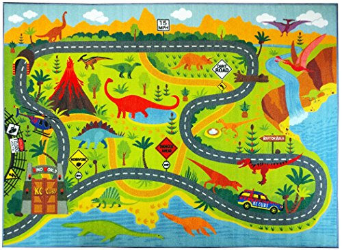 KC CUBS Playtime Collection Dinosaur Dino Safari Road Map Educational Learning & Game Area Rug Carpet for Kids and Children Bedrooms and Playroom (3'3