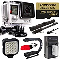 GoPro HERO4 Hero 4 Silver Edition 4K Action Camera with 32GB MicroSD Card, Battery with Charger, Opteka xGrip Action Video Stabilizer, Self Selfie, Night LED Light, Mini Tripod, Cleaning Kit