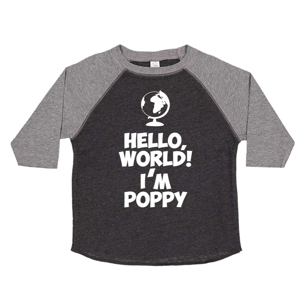 Mashed Clothing Hello Im Poppy World Personalized Name Toddler//Kids Raglan T-Shirt