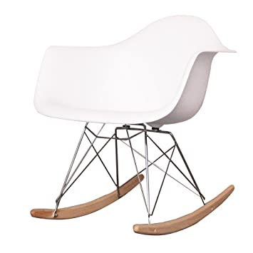 Charles Eames Style Cool White Plastic Retro Rocking Chair  sc 1 st  Amazon.co.uk & Charles Eames Style Cool White Plastic Retro Rocking Chair: Amazon ...