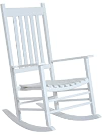 Outsunny Porch Rocking Chair   Outdoor Patio Wooden Rocker   White