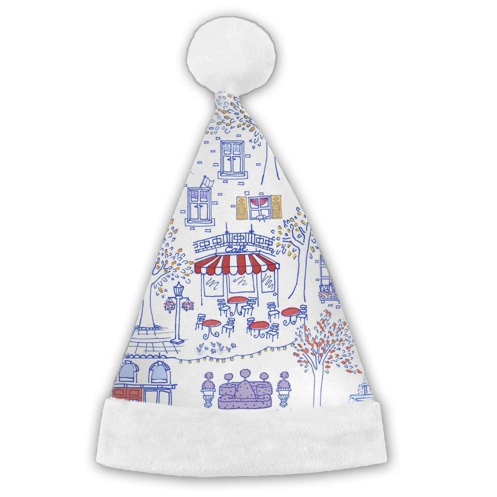 FunnyLaury Abstract Paris Travel Santa Hat Velvet Christmas Hat