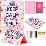 Tab 4 10.1 Case,Dteck(TM) Cartoon Cute Pattern Flip Stand Cover Magnetic Closure Smart Wallet Case[Card Slots][Auto Wake/Sleep Function] for Samsung Galaxy SM-T530/SM-T531 (02 Rose Floral)