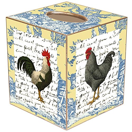 Rooster on Blue and Yellow Toile Paper Mache Tissue Box Cover
