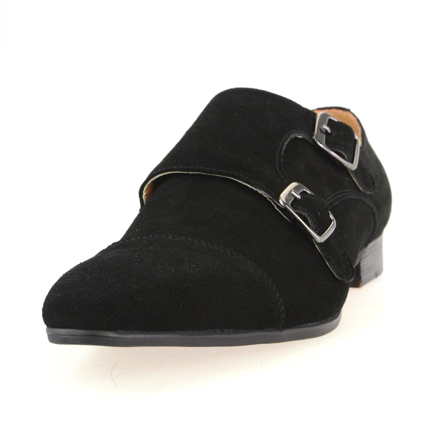 [ルシウス] LUCIUS 本革 20種類から選ぶ レザー メンズ ダブル モンクストラップ メダリオン ストレートチップ 革靴 紳士靴 B076DWLQBK 25.0 cm 3E HA17480-4 ブラック HA17480-4 ブラック 25.0 cm 3E
