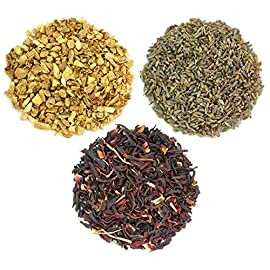 Solstice Teas Dried Ginger, Hibiscus & Lavender Petals for Flavoring Kombucha Tea; 3-Pack Aromatic Flavor Sampler for Home Brewing 8 ✓ CONVENIENT KOMBUCHA FLAVOR SAMPLER - Try three new flavors in one convenient sampler; each set includes 0.5-ounces of lavender, 1-ounce of hibiscus, and 1.5-ounces of ginger. ✓ PROFESSIONALLY PACKED IN REUSABLE TINS - Each flavor is professionally packed in sturdy, refillable metal tins; recyclable, eco-friendly green alternative to plastic bags. ✓ LUSH LAVENDER - Fragrant and lovely, this herbal additive is accredited with stress relief and relaxation attributes.