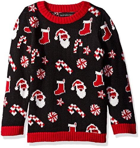 Blizzard Bay Little Boys' Santa Scattered, Black/Red, 5 (Kids Ugly Christmas Sweater)