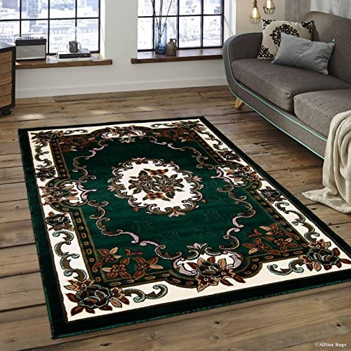 Allstar 8×11 Hunter Green Classic French Country Rectangular Accent Rug with Ivory and Mocha Bordered Medallion Design 7 6 x 10 5